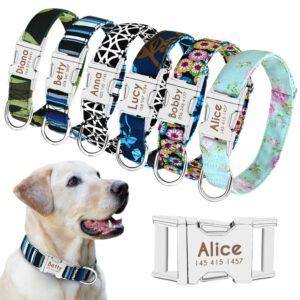 Dog Collar Personalised with Lightweight Nylon