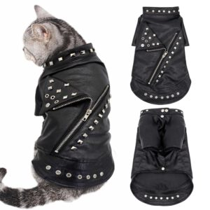 Black Leather Winter Jacket for Cats