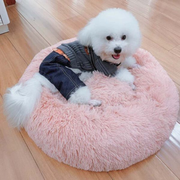 fluffy round shaped pet bed